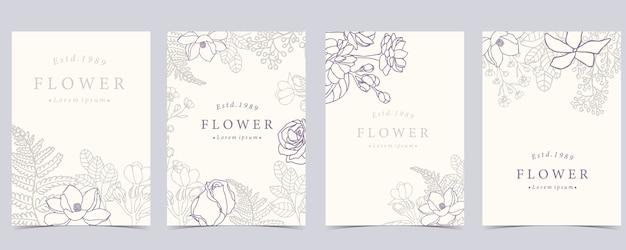 Kolekcja Kwiat Tło Zestaw Z Różą Premium Wektorów