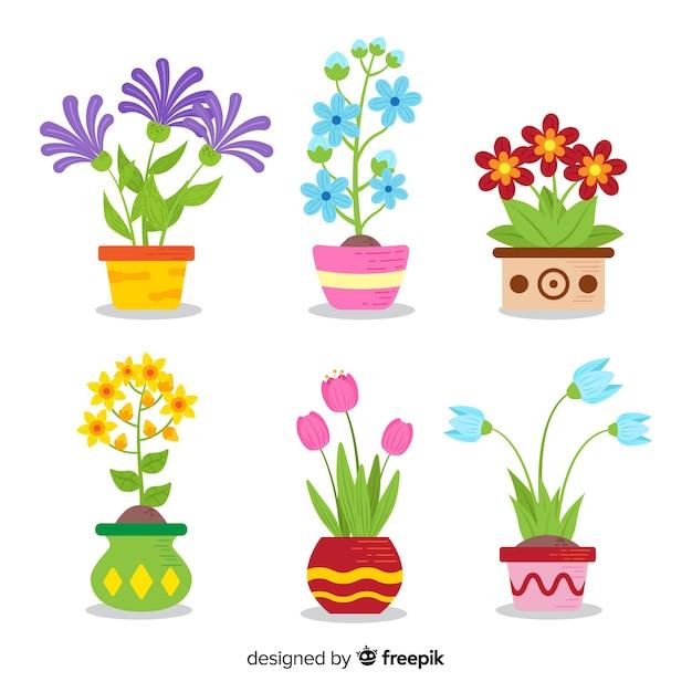 Kolekcja kwiat wiosna płaski Darmowych Wektorów