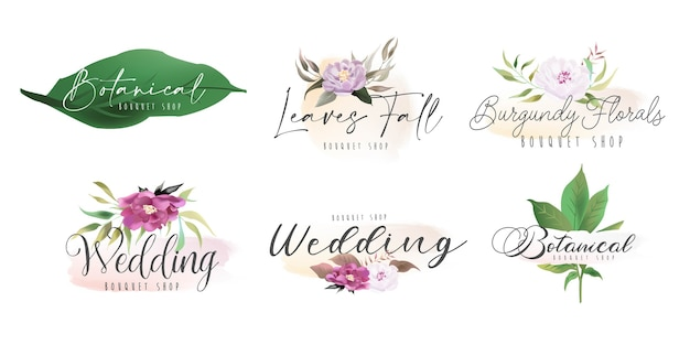 Kolekcja Kwiatowo-botanicznych Kobiecych Logo Premium Wektorów
