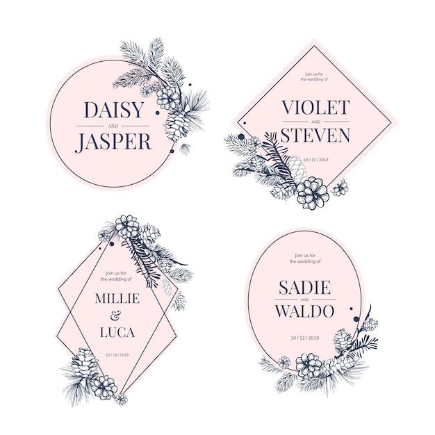 Kolekcja kwiatowy wesele zaprosić Darmowych Wektorów