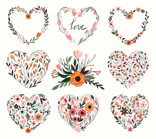 Kolekcja Kwiatowych Serc Premium Wektorów
