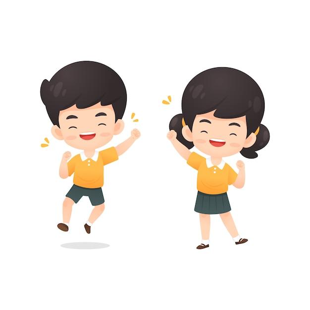 Kolekcja ładny chłopak i dziewczyna student charakter w szczęśliwej pozie Premium Wektorów