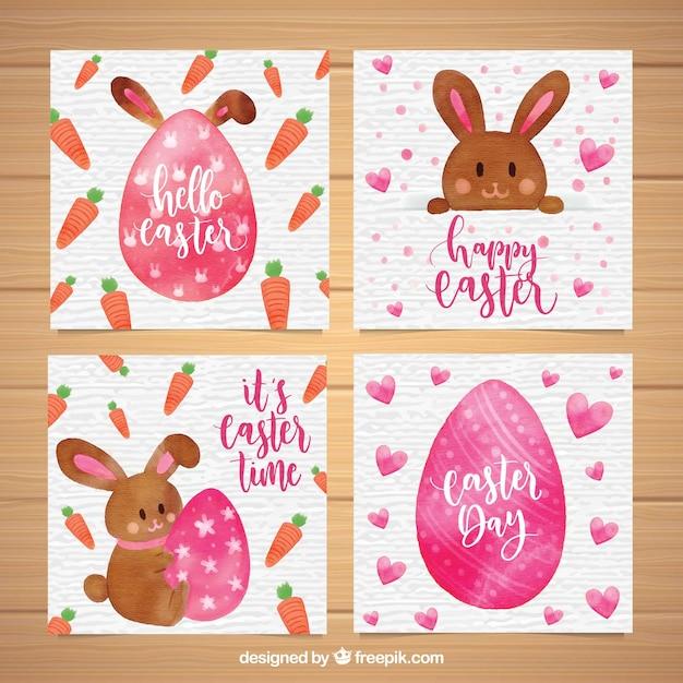 Kolekcja ładny Kartka Wielkanocna Akwarela Darmowych Wektorów