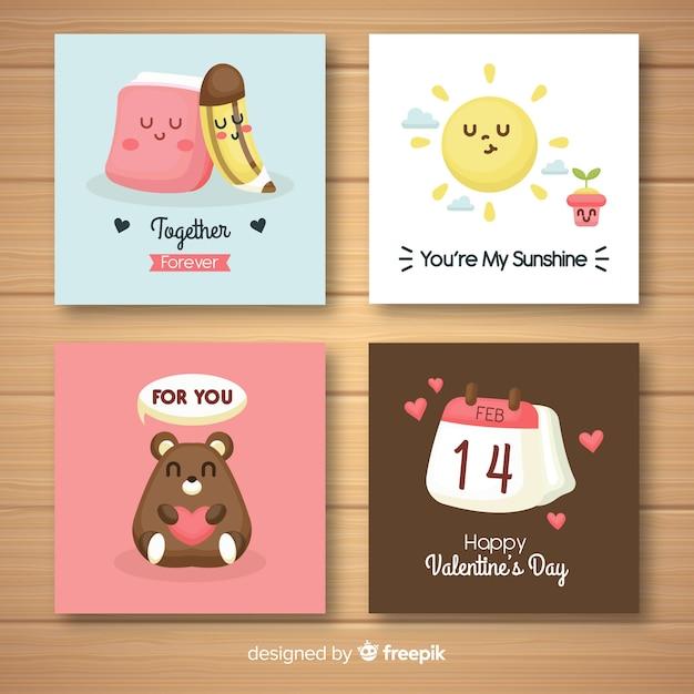 Kolekcja ładny valentine karty Darmowych Wektorów