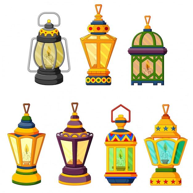 Kolekcja latarni świec ramadan w trybie słabego oświetlenia Premium Wektorów