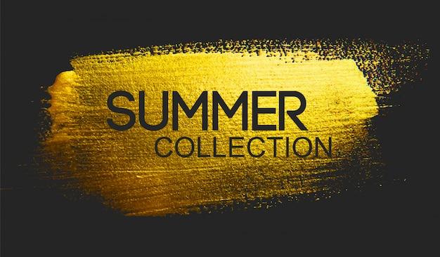 Kolekcja lato tekst na złotym pędzlem Premium Wektorów