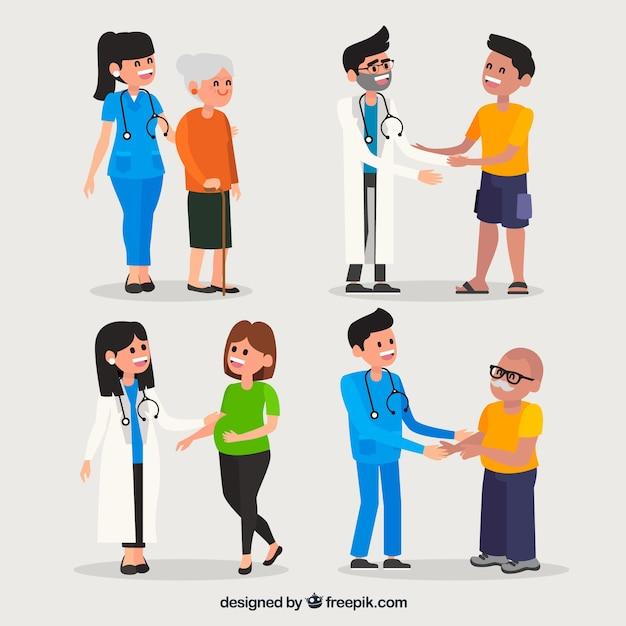 Kolekcja Lekarzy Z Pacjentami Darmowych Wektorów