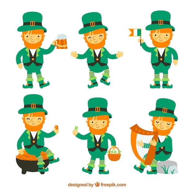 Kolekcja Leprechaunów Z Dnia Patricks Darmowych Wektorów