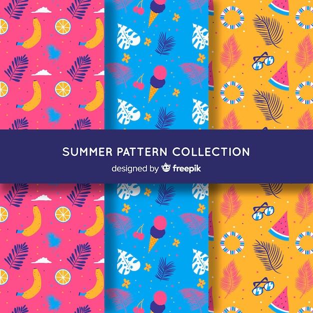 Kolekcja letnich wzorów płaskich Darmowych Wektorów