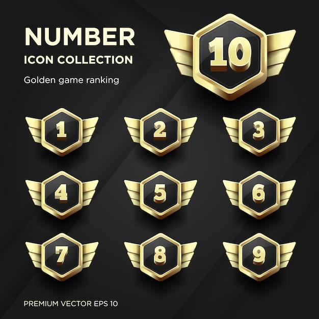 Kolekcja Liczb Złoty Ranking Gry Premium Wektorów