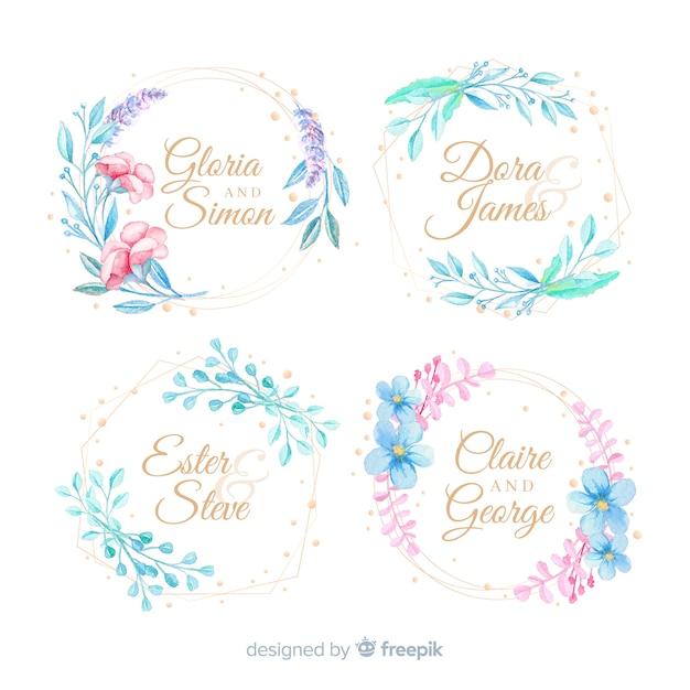 Kolekcja logo akwarela ramki ślubne Darmowych Wektorów