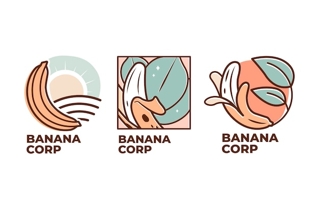 Kolekcja Logo Bananów Premium Wektorów