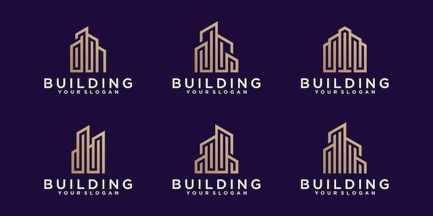 Kolekcja Logo Budynku W Stylu Grafiki Liniowej Premium Wektorów