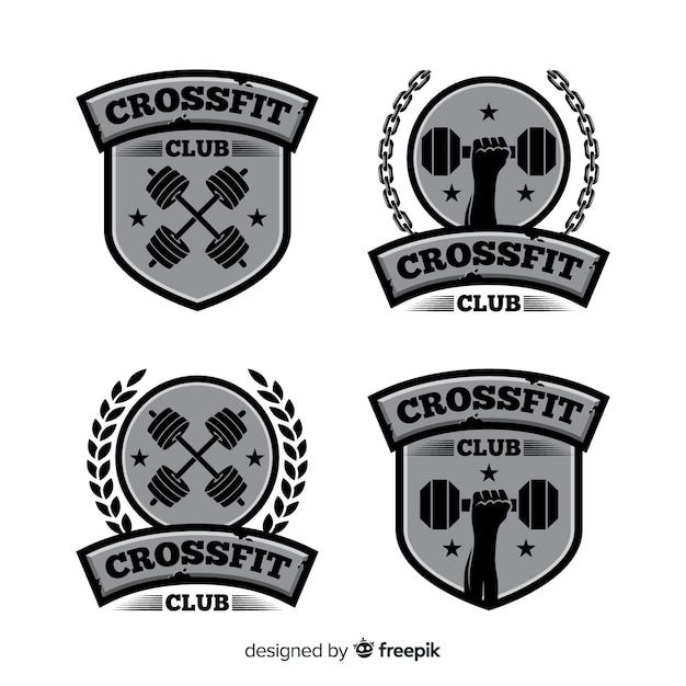 Kolekcja logo crossfit o płaskiej konstrukcji Darmowych Wektorów