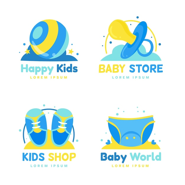 Kolekcja Logo Cute Baby Premium Wektorów