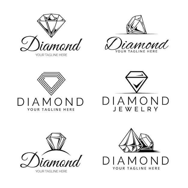 Kolekcja Logo Diamentów Darmowych Wektorów