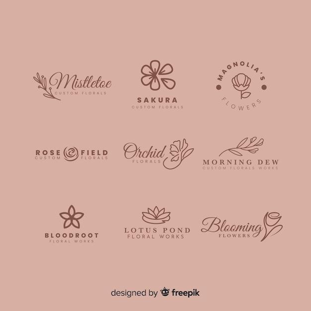 Kolekcja logo do kwiaciarni ślubnej Darmowych Wektorów