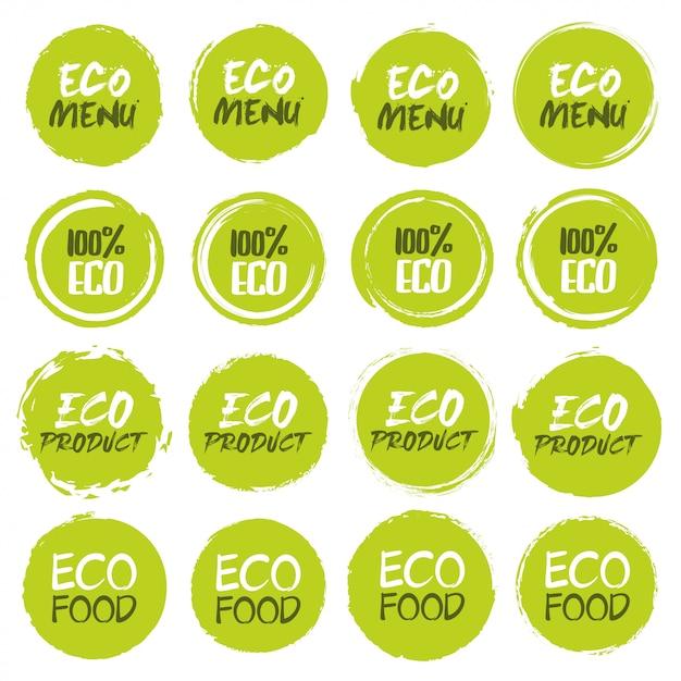 Kolekcja Logo Ekologicznego. Zbiór Różnych Grunge Kształty Kół Etykiety Z Innym Tekstem Premium Wektorów