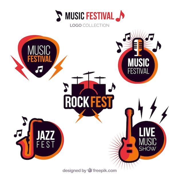 Kolekcja Logo Festiwal Muzyczny Z Płaskiej Konstrukcji Premium Wektorów