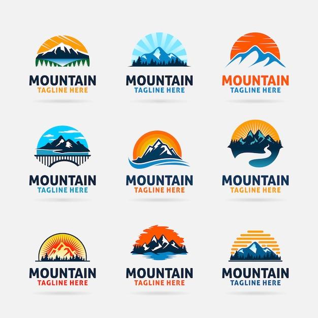 Kolekcja logo firmy mountain Premium Wektorów