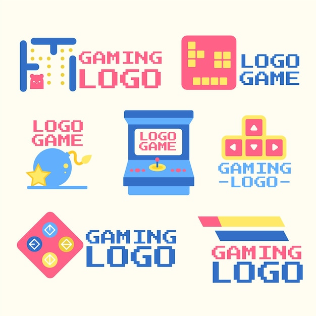 Kolekcja logo gier o płaskiej konstrukcji Darmowych Wektorów