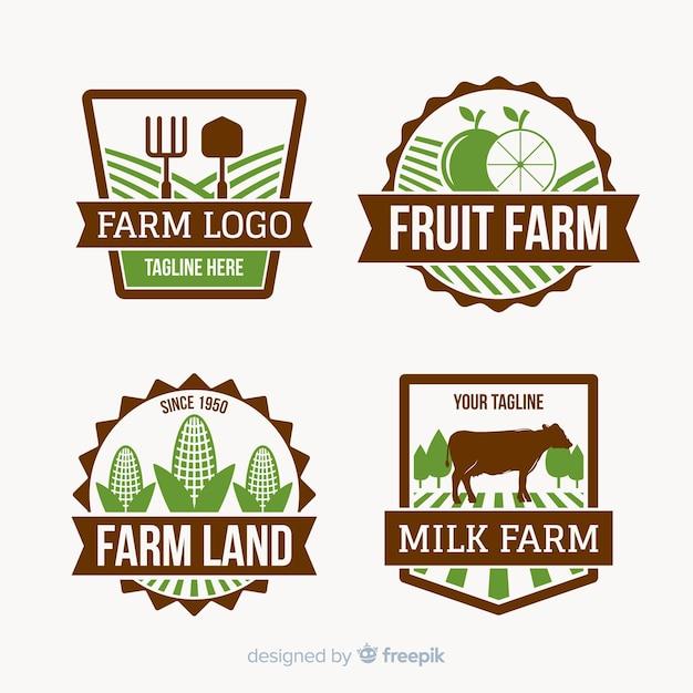 Kolekcja logo gospodarstwa płaskiego Darmowych Wektorów
