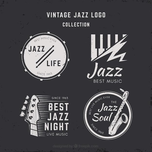 Kolekcja Logo Jazz W Stylu Vintage Darmowych Wektorów