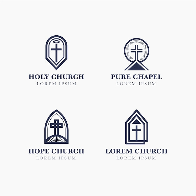 Kolekcja Logo Kościoła Darmowych Wektorów