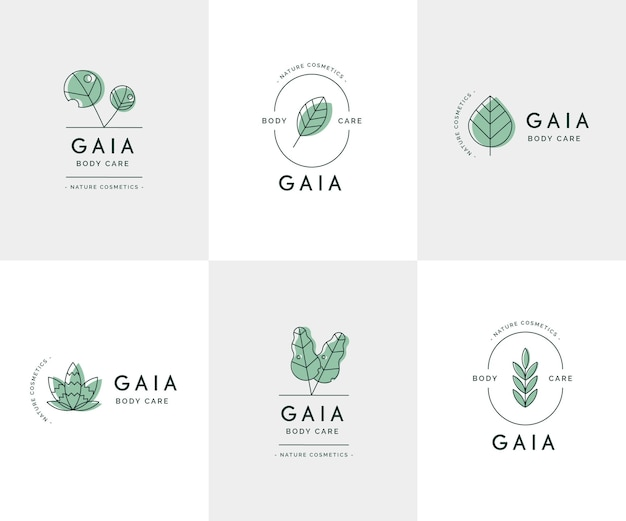 Kolekcja Logo Kosmetyki Przyrody Darmowych Wektorów
