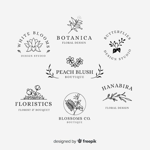 Kolekcja logo kwiaciarni ślubnych Darmowych Wektorów