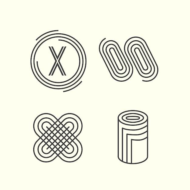 Kolekcja Logo Liniowe Streszczenie Darmowych Wektorów