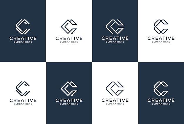Kolekcja Logo Litery C. Początkowa Inspiracja Logo C. Napis Monogram W Eleganckim Stylu. Premium Wektorów