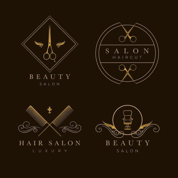 Kolekcja Logo Luksusowego Salonu Fryzjerskiego Darmowych Wektorów