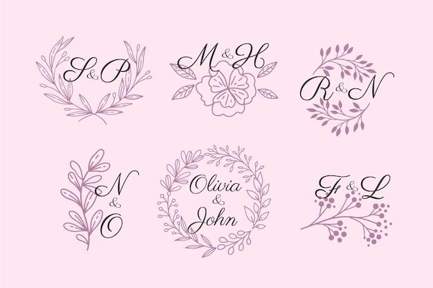 Kolekcja Logo Monogram ślubu Darmowych Wektorów