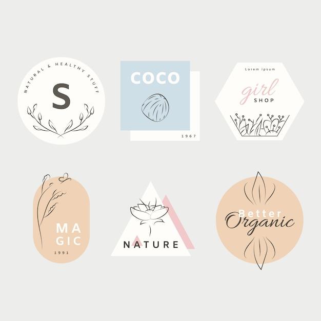 Kolekcja logo naturalnego biznesu w minimalistycznym stylu Darmowych Wektorów