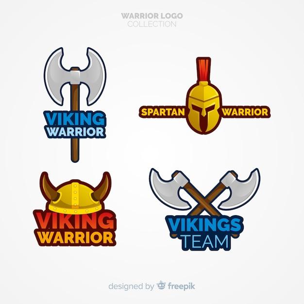 Kolekcja logo nowoczesnego wojownika Darmowych Wektorów