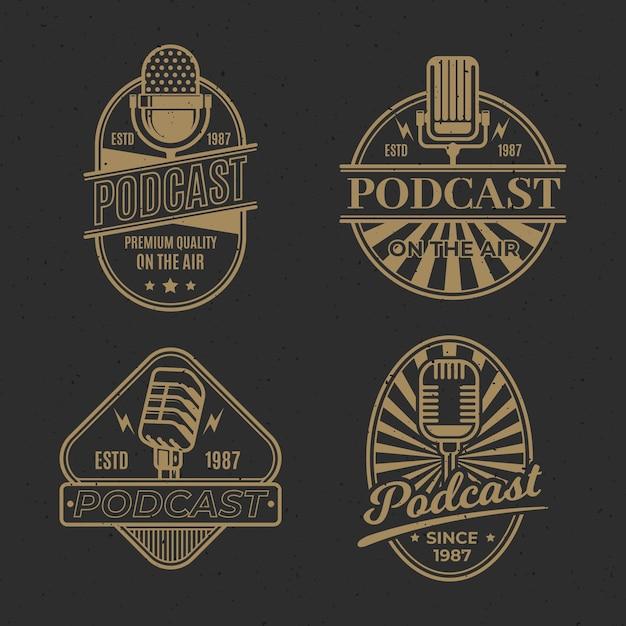 Kolekcja Logo Podcastu W Stylu Vintage Darmowych Wektorów