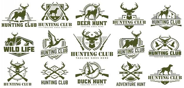 Kolekcja logo polowania, wektor zestaw etykiet polowanie, odznaka lub godło, logo polowanie na kaczki i jelenie Premium Wektorów