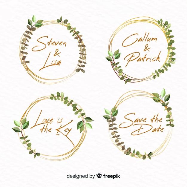 Kolekcja logo ramki akwarela Darmowych Wektorów