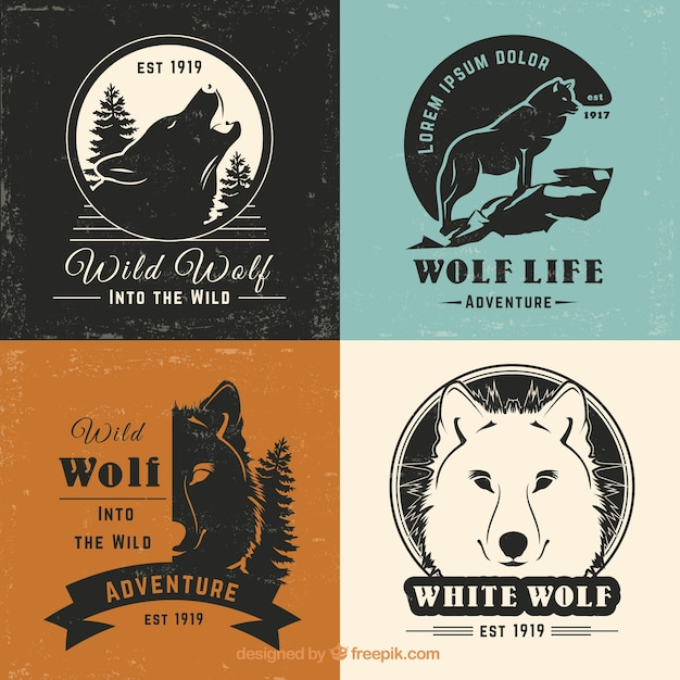 Kolekcja logo retro retro wilka Darmowych Wektorów