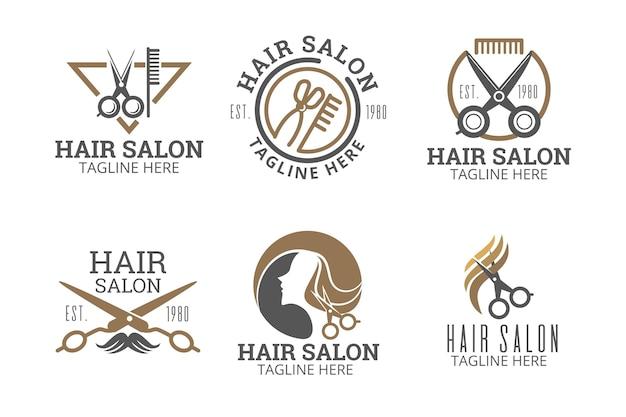 Kolekcja Logo Salonu Fryzjerskiego Z Płaskiej Dłoni Darmowych Wektorów