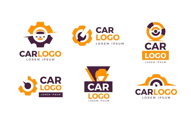 Kolekcja Logo Samochodu Płaska Konstrukcja Darmowych Wektorów
