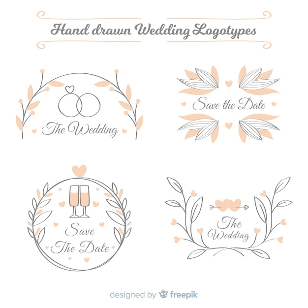 Kolekcja logo ślub Darmowych Wektorów