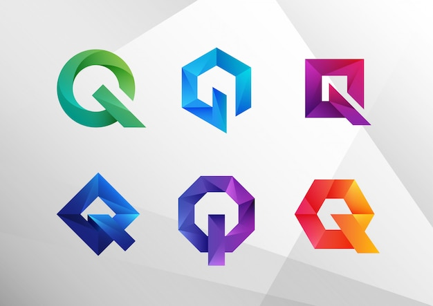 Kolekcja logo streszczenie gradientu q. Premium Wektorów