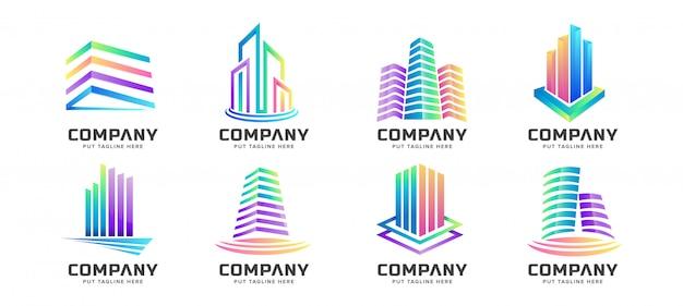 Kolekcja logo streszczenie kolorowy budynek wieża dla biznesu Premium Wektorów