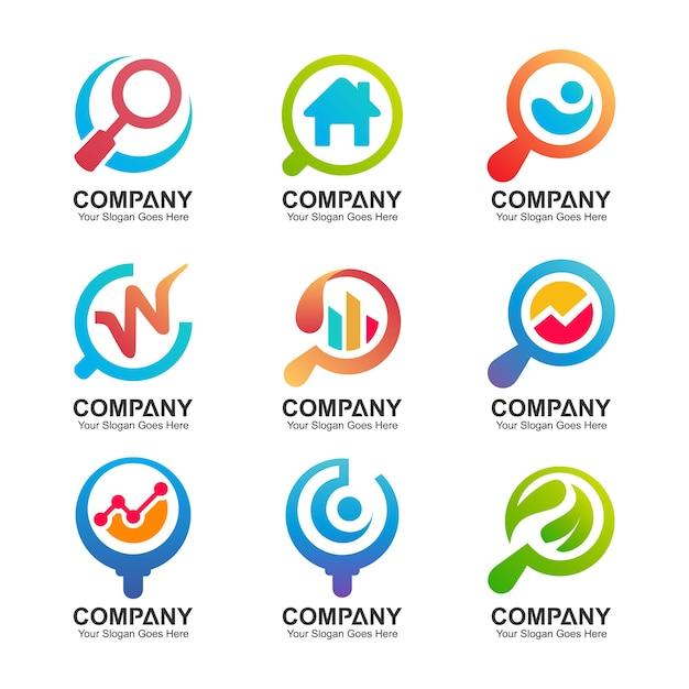 Kolekcja logo szkła powiększającego Premium Wektorów