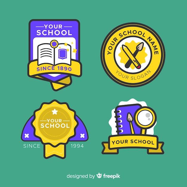 Kolekcja Logo Szkoły Płaska Konstrukcja Darmowych Wektorów