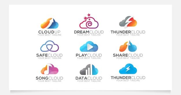 Kolekcja Logo W Chmurze Dla Firmy Lub Agencji Premium Wektorów