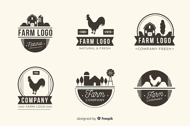 Kolekcja Logo Z Płaskim Czarnym Gospodarstwem Darmowych Wektorów