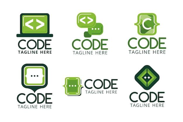 Kolekcja Logo Z Płaskim Kodem Darmowych Wektorów
